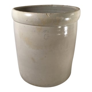 Vintage Mid Century Rustic Country Crock No. 6 Planter For Sale