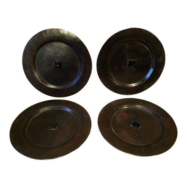 Antique Arts & Crafts Roycroft Hand Hammered Copper Plates - Set of 4 For Sale