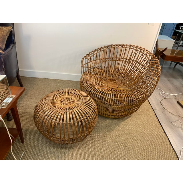 Original Franco Albini Wicker Rattan Chair and Ottoman - a Pair For Sale - Image 13 of 13