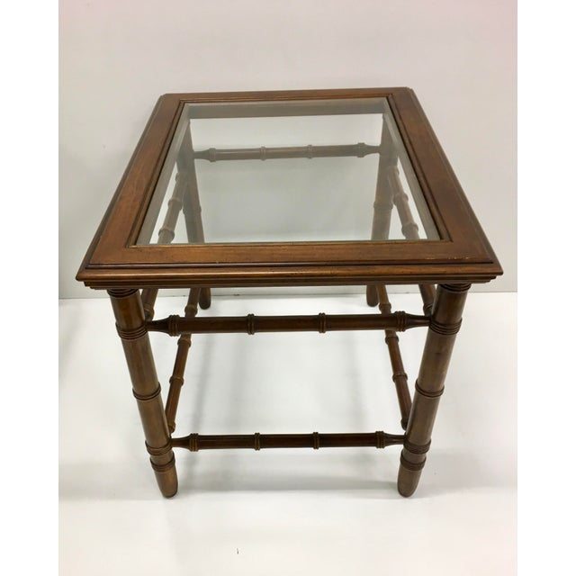 Mahogany & Glass Top End Tables - A Pair For Sale - Image 4 of 10