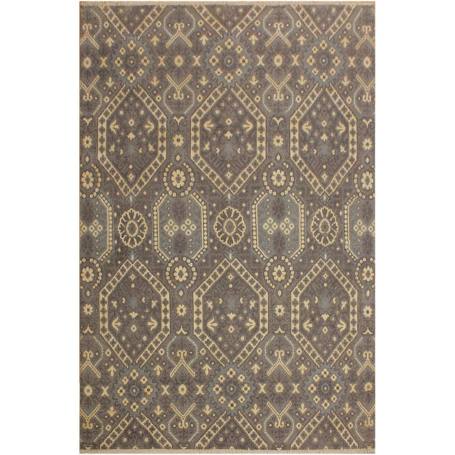 Blue Ezyln Modern Cheryle Gray/Ivory Wool & Viscouse Rug - 7'11 X 10'2 For Sale - Image 8 of 8
