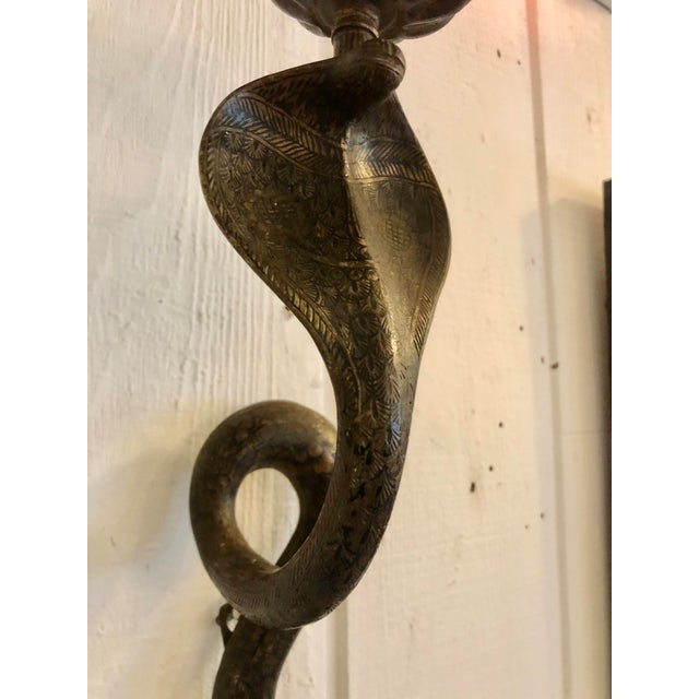 1950s Enameled Brass Revival Cobra Candle Sconces -A Pair For Sale - Image 5 of 13