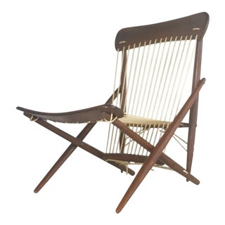 1950s Japanese Maruni Rope and Wood Lounge Chair For Sale