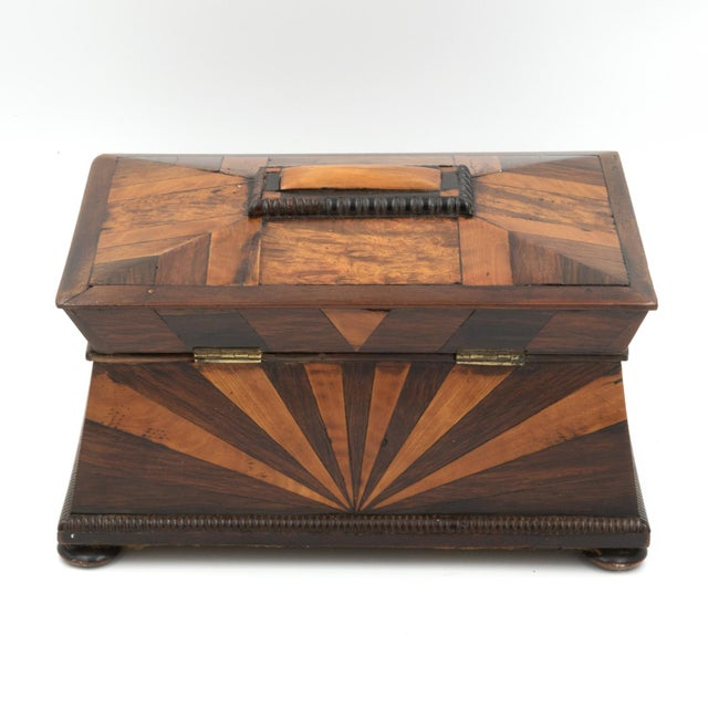 Lovely Pagoda Shape Box With Sunburst Marquetry, English, Circa 1850. For Sale - Image 4 of 11
