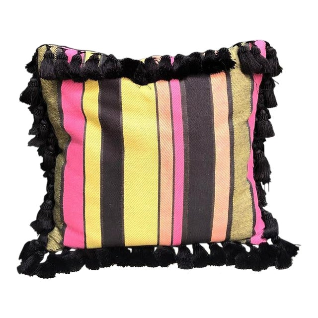Black & Multicolored Striped Tasseled Throw Pillow For Sale