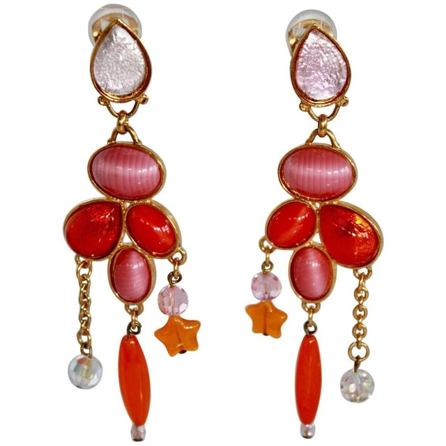 1990s Vintage Philippe Ferrandis Pink and Orange Statement Clip Earrings For Sale - Image 4 of 4