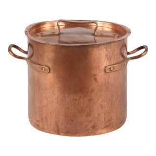 Late 1800s French Copper Cauldron For Sale