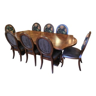 Transitional Farmhouse Style 9 Piece Dining Set