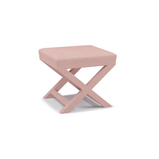 Contemporary X Bench in Blush Velvet For Sale - Image 3 of 5