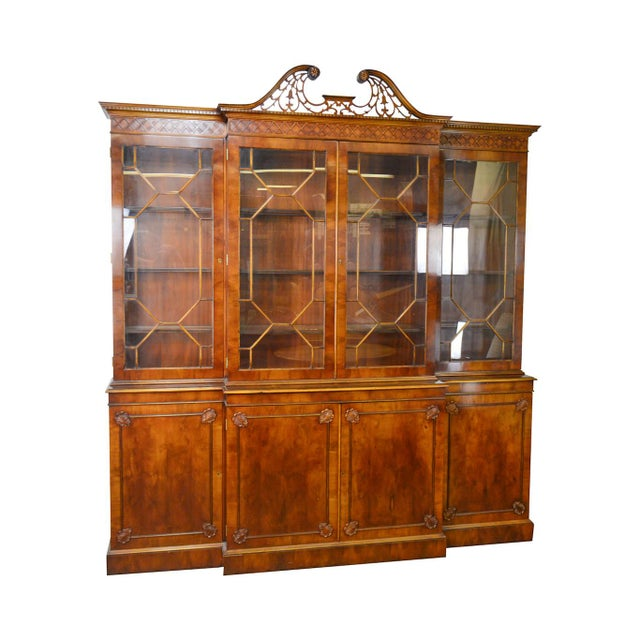 Trosby George III Style English Yew Wood 4 Door Breakfront - Image 12 of 12