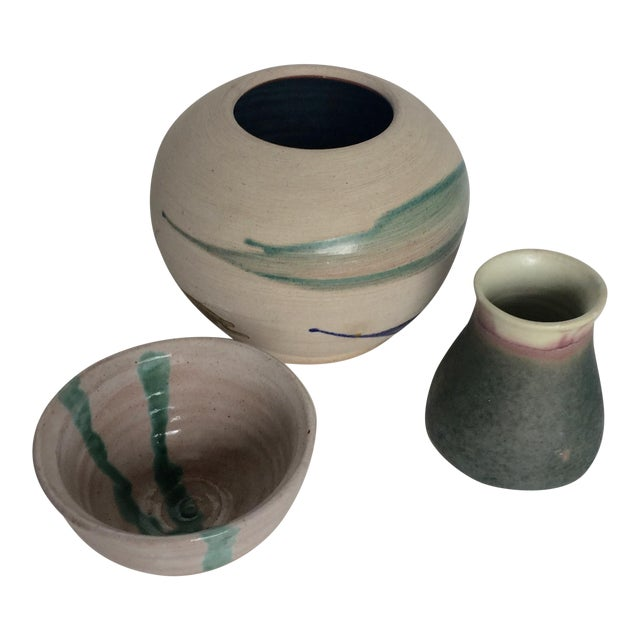 Artistic Signed Pottery - 3 For Sale