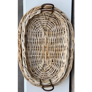 Large Rustic Tray Baskets With Iron Handles - a Pair Preview