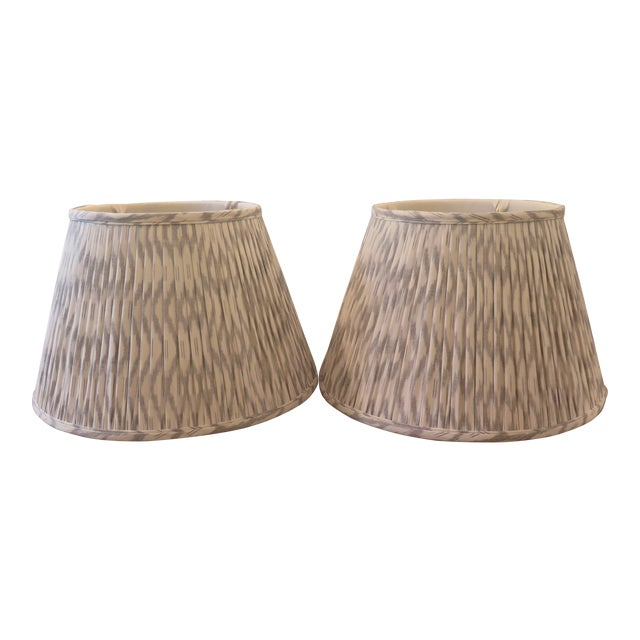 Custom Maison Maison Gathered Lampshades - a Pair For Sale