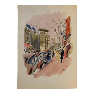 "French ""La Porte Saint-Denis"" Watercolor Painting by J. Berger For Sale"