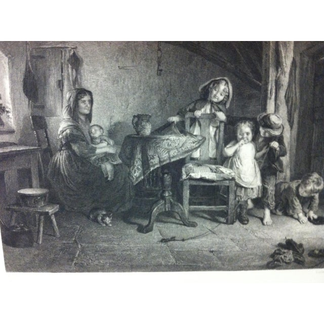 """English Antique Print on Paper, """"Playmates"""" by Lumb Stocks, Circa 1880 For Sale - Image 3 of 6"""