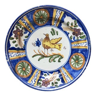 Antique Persian Faience Blue with Yellow Bird Charger For Sale