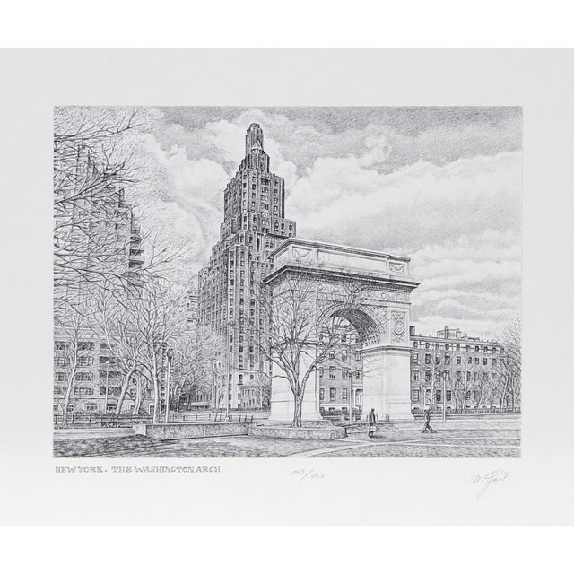 Walter Tjart - NY: The Washington Arch Etching For Sale