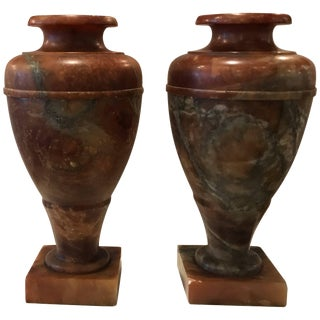 1920s Neoclassical Illuminating Marble Urn Lamps - a Pair For Sale