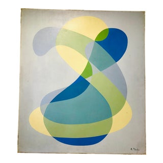 Vintage Blue and Yellow Abstract Lucite Framed Painting, Signed For Sale
