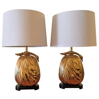"Pair of Chapman ""Sacks of Gold"" Brass Table Lamps For Sale"