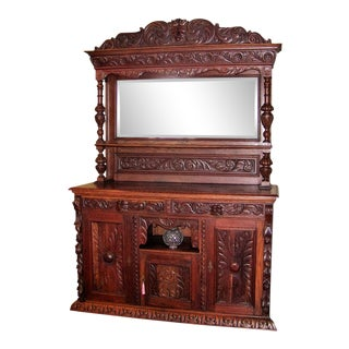 Early 19c French Provincial Highly Carved Oak Dining Buffet For Sale