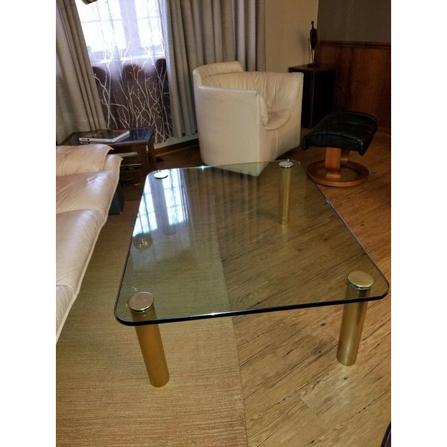 Leon Rosen Brass and Glass Coffee Table by the Pace Collection Leon Rosen For Sale - Image 4 of 13