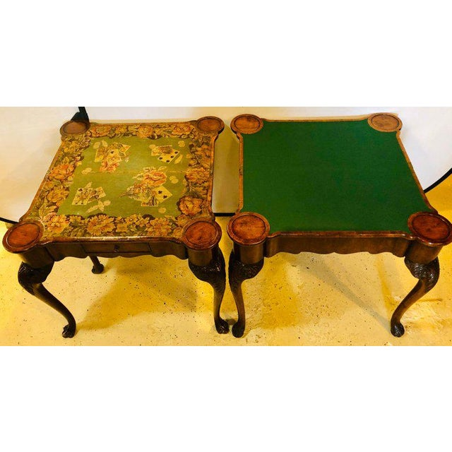 Pair of 18th-19th Century Georgian Compatible Card / Game or Flip Top Tables For Sale - Image 4 of 13
