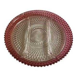 1970s Vintage Cranberry Flash Diamond Point Glass Three Part Relish Dish Indiana Glass For Sale