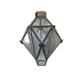Large Geometric Bronze and Copper Lantern For Sale