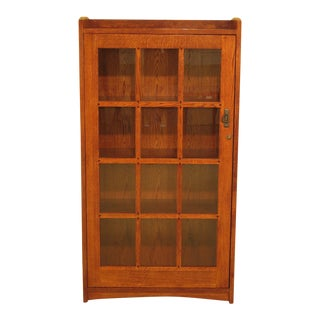 Mission Arts & Crafts Oak 1 Door Bookcase For Sale