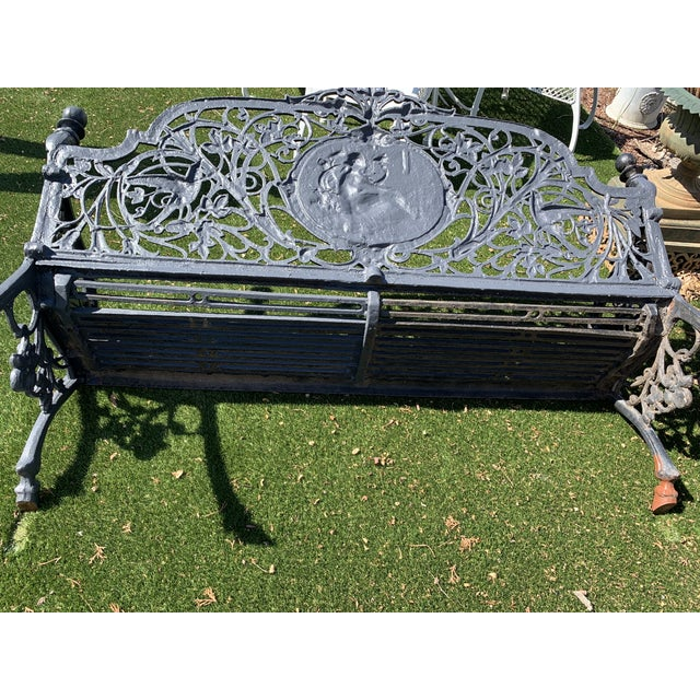 Antique French Black Iron Bench With Birds and Nymph For Sale - Image 9 of 13