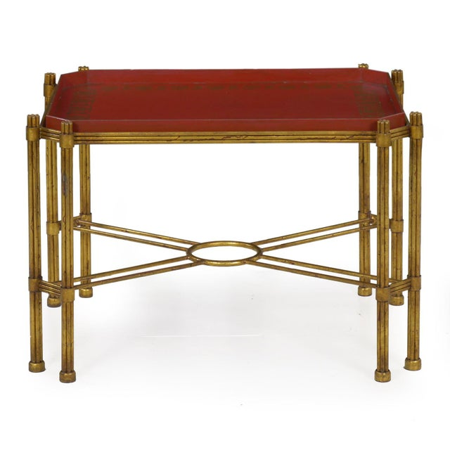 Vintage Gilt Iron Cocktail Table With Red-Painted Wooden Tray, 20th Century For Sale - Image 13 of 13