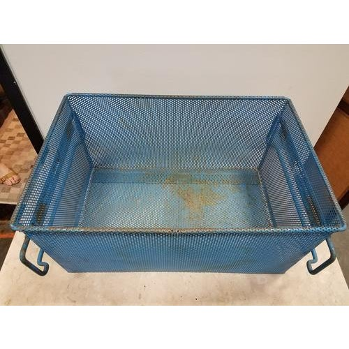 Metal 1960s French Industrial Blue Metal Basket For Sale - Image 7 of 8