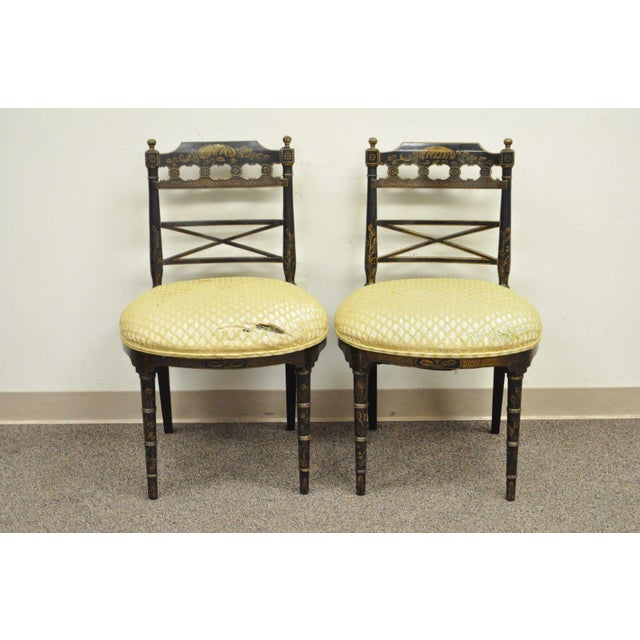Item: Pair of Antique Chinoiserie Black Painted Side Chairs with Gold Hand Painted Accents Details: Solid Carved Wood...