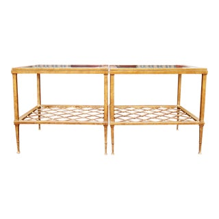 Antiqued Gold Contemporary Iron and Glass Top Side Tables - a Pair For Sale