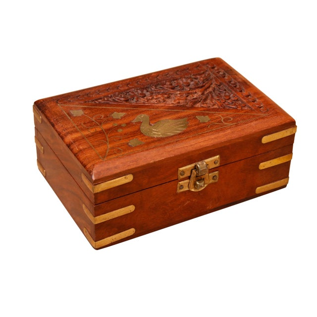 Mid 20th Century Carved Trinket Boxes With Brass Inlay, Set of 4 For Sale - Image 5 of 10