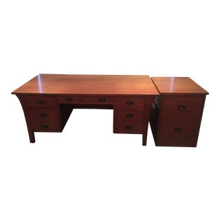 Stickley Executive Desk & File Cabinet - A Pair For Sale