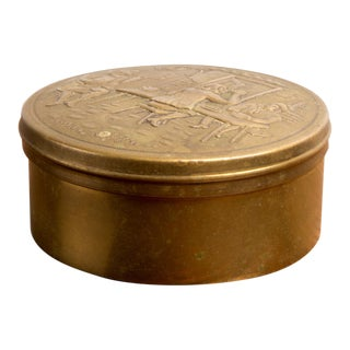 Art Deco Bronze Circular Box With Mirror For Sale