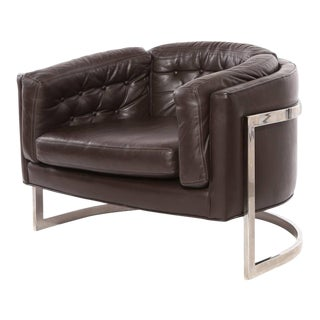 1970s Mid-Century Modern Jules Heumann for Metropolitan Leather Barrel Chair For Sale
