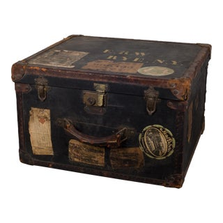1900-1930 Antique Old England Leather/Brass Luggage For Sale