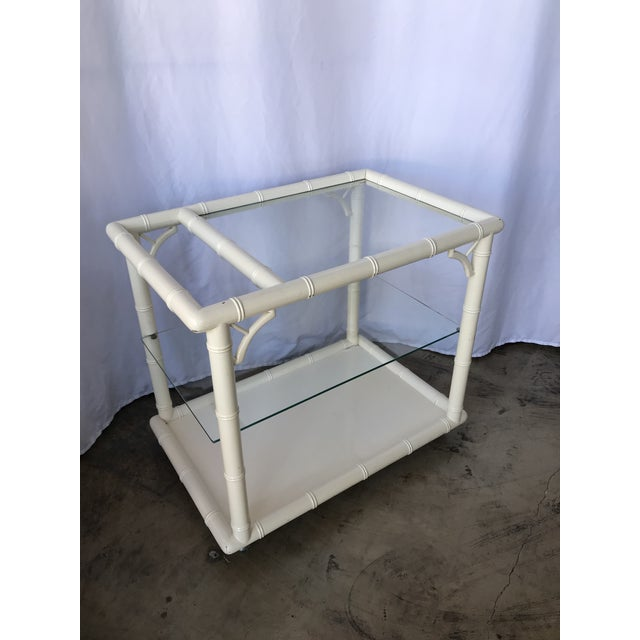 1980s Bamboo-Style White Lacquer Bar Cart/ Trolley For Sale - Image 10 of 10