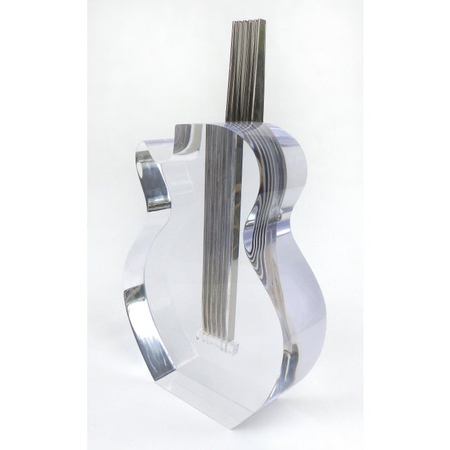 Custom Lucite and Stainless Steel Sculpture of a Guitar For Sale - Image 9 of 13