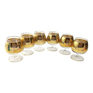 Vintage Mid Century 24k Brandy/ Cognac Snifters Bacchanalian with Grapes - Set of 6 For Sale