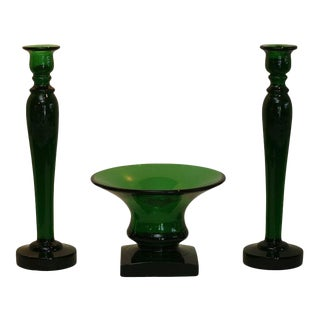 Steuben Museum Quality Monumental Candlesticks and Center Bowl Pomona Green For Sale