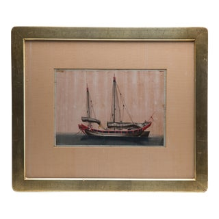 """Antique Chinese Export """"Merchant Sailing Ship"""" Gouache Painting on Silk For Sale"""