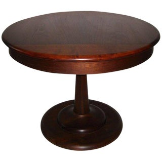1960s Solid Walnut Wood Pedestal Table