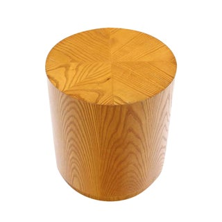Vintage Mid Century Cylinder Drum Shaped Side End Table For Sale
