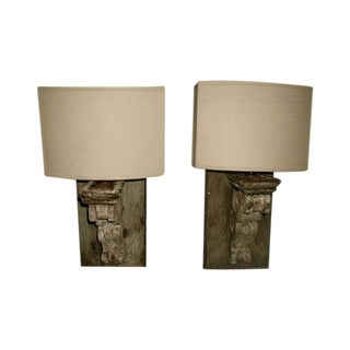Wooden Corbel Half Shade Sconces - A Pair For Sale