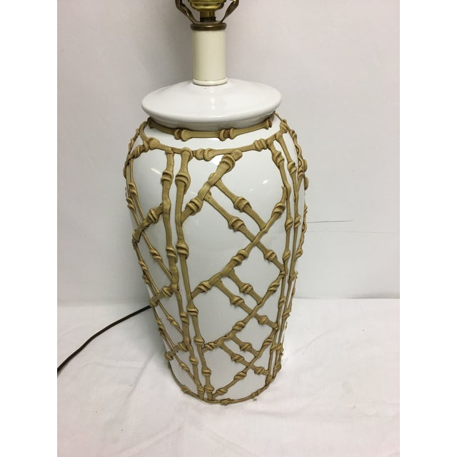 Asian Vintage Faux Bamboo Lamp For Sale - Image 3 of 7