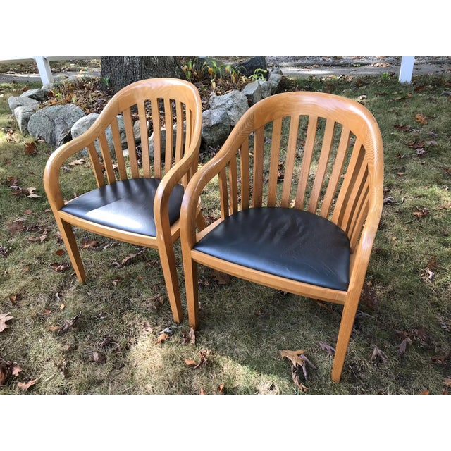 A beautiful set of unique and apparently rare Ward Bennett chairs with leather seats. Sturdy and comfortable with the...